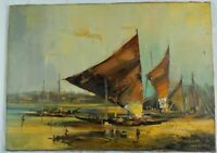Vintage Oil Painting Boat on the Shore by Listed Bolivian Artist Mario Cespedes