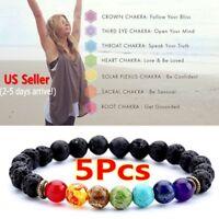 7Chakra Healing Beaded Bracelet Natural Lava Stone Diffuser Jewelry Men/Women