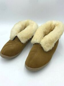 Minnetonka 9 Shearling Fur Lined Tan Suede Bootie Slippers Shoes Womens