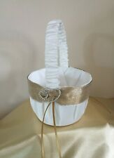 WHITE/PALE IVORY GOLD DOUBLE HEARTS FLOWER GIRL BASKET/WEDDING ACCESSORY