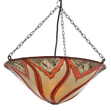 marokkanische Leder - Hängeleuchte Sare orange Lampenschirm