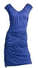 £170 Designer REISS Lola drape midi dress size M blue jersey --MINT- knee length
