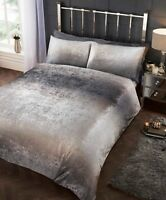 Rapport Crushed Velvet Stardust Shimmer Duvet Cover Bedding Set Silver/Grey