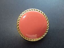 1980s Vintage Big Metal Gold-Rim Orange Red Enamel Coat Collectible Button-36mm