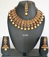 Indian Wedding Jewelry Fashion Bridal Kundan Crystal Necklace Earring Set OJ 241
