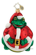 """Christopher Radko SANTA TOAD Blown Glass Ornament 5"""" Poland Frog Claus Suit NEW!"""