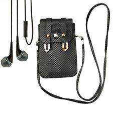 Black Pouch shoulder bag Case Lanyard for Samsung Galaxy S7 / S6 Edge + Earphone