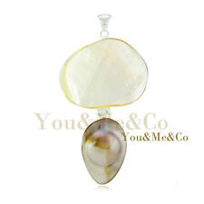 Huge Natural Mother Of Pearl 925 Sterling Silver Pendant