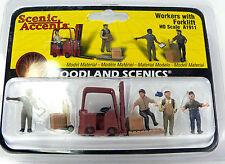 HO Scale Model Railroad Trains Woodland Scenics Worker Figures & Fork Lift 1911