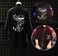 Japanese Harajuku Little devil Printed Zipper T-shirt Punk Loose Black Tops