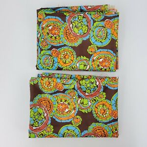 """Lot 2 Pieces 145x46"""" & 138x46"""" 7 yds total Woven Poly Colorful Mandala Fabric"""
