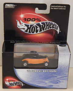 '34 Ford Hi-Boy Coupe 3-Window Roadster Hot Wheels 100% Collectibles Black Box