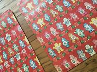 TWO 1980's Vintage Valentine Care Bear Heart Wrapping Paper/Ephemera/Gift Wrap