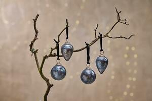 4 Antique Smoke Dew Drop Hanging Bauble Rustic Antique Christmas Jalshara Nkuku