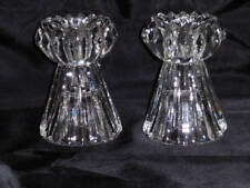 "Vintage Crystal Glass Taper Candle Holders 4"" Tall"