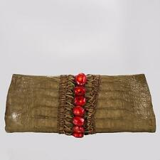 PAIGE GAMBLE GAMBELLE CLUTCH HANDBAG CAYMEN CROC SKIN WITH RED CORAL