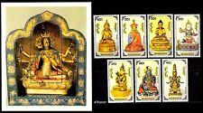 Mongolia 1991, Buddha /Gods / Statues / Religion , M/S + Stamp set of 7 MNH