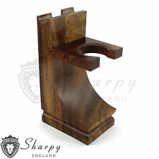 Pro Mission Style Wood Safety Straight Razor & Brush Stand Walnut Finish