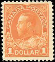 Canada Mint NH F+ Scott #122 1925 $1.00 King George V Admiral Stamp
