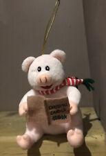 More details for kurt s. adler ornament o christmas tree carol pink pig soft plush musical toy 6
