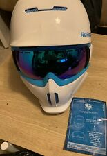 RuRoc RG1-X Full Face Snowboard Ski Helmet White/Blue Size-XL Used