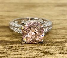 9ct White Gold Large Pink CZ Cubic Zirconia Solitaire  Ring -Size P -  01966