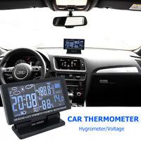 Car Boat 12V Digital Clock Weather Forecast F/C Thermometer Hygrometer Voltage