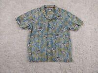 Columbia Button Up Shirt Mens Large Sword Fish Blue Yellow Hawaiian Palm Frond