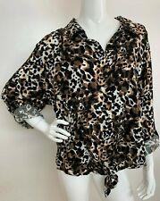 Women's Plus 3X Black Multi Color Animal Print Button Tie Front Top Blouse NWT