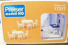 HO Preiser 17217 White TABLES (2) and CHAIRS (8) Model Detail KIT