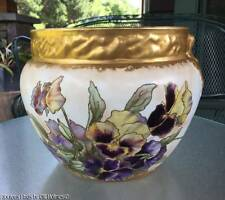 Antique 1893-1898 Warwick Semi-Porcelain PANSIES Large Jardinière Planter Bowl