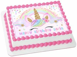 EDIBLE Unicorn Sparkles Wafer 1/4 Sheet Cake Topper Birthday Decoration Image