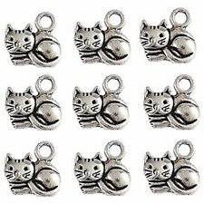 10 Tibetan Silver Cat Pendant Charms 15mm Cheshire