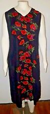 Women's 2X Red Flowery Black Dress by Le Cera Sleeveless Side Slit  New