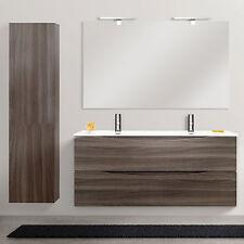 Mobile da bagno 120 cm lavabo doppia vasca rovere scuro con colonna e specchiera