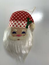 Vintage House of Hatten 1976 Santa Claus Christmas Ornament Cloth Fabric