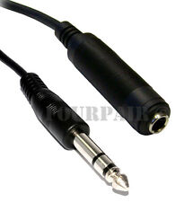 "10ft 1/4"" 6.35mm Stereo Male to Female Extension Audio Amp Guitar TRS Cable"