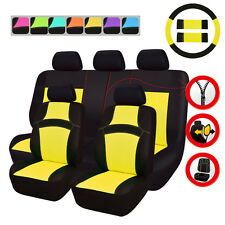Popular sandwich yellow color full seat car seat cover with steering wheel cover