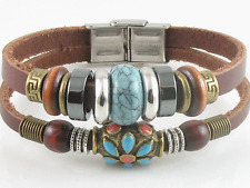 Surfer Tribal Brown Leather Bracelet Wristband Men Women Turquoise Bead w/Clasp
