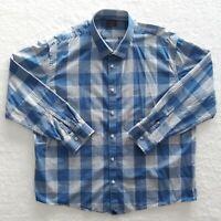 UNTUCKit Men's XXXLC Blue Check Plaid Cotton Button Up Flannel Long Sleeve Shirt