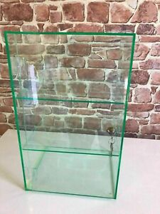 Display Cabinet with Lock 2 Keys & 2 Removable Shelves Glass Acrylic