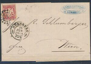 Bayern 3 Kreuzer Wappen EF Brief Inhalt Nürnberg 1868 nach Wien Österreich (2979