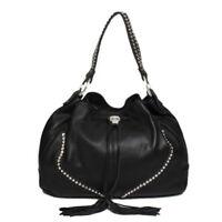 Raviani Black Pebble grain Cowhide Leather Drawstring Bag W/ Crystals