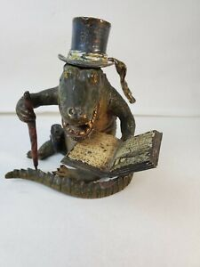 Estate Fresh Antique Cold Painted Bronze Whimsical Crocodile/Alligator Inkwell