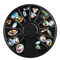 Nail Art Wheel 3D AB Rhinestone Crystal Gems Glitter Tips Decoration Accessories