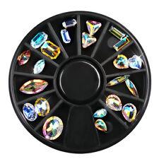 Nail Art Wheel AB Rhinestone Crystal Gems 3D Glitter Tips Decoration Accessories