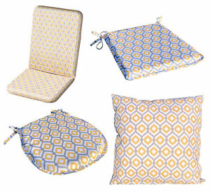Tie On Abstract Design Seat Pad or Cushion Cover Outdoor Water Resistant Dining