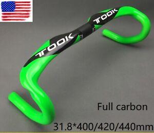 Carbon Handlebar Road Bike Bicycle Racing drop bar 31.8*400/420/440mm Green
