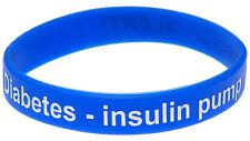 Diabetes on Insulin Pump Blue Silicone Wristband Medical Alert Bracelet Mediband