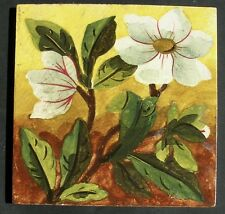 Charming Antique stencilled & painted Tile - THOS BOOTE c1890